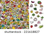 find food  visual game.... | Shutterstock .eps vector #221618827