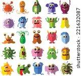 cartoon cute flat monsters  | Shutterstock .eps vector #221632087