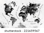 ink world map in black and... | Shutterstock .eps vector #221659567