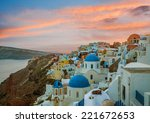 churches of oia village during... | Shutterstock . vector #221672653