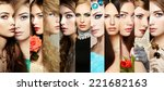 beauty collage. faces of women. ... | Shutterstock . vector #221682163