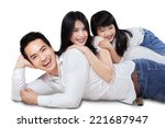 cheerful family smiling at... | Shutterstock . vector #221687947