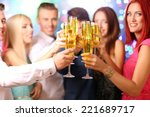 young people dancing at party  | Shutterstock . vector #221689717