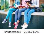slim legs of three females in... | Shutterstock . vector #221691643