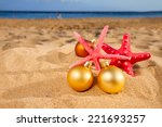 christmas balls with red... | Shutterstock . vector #221693257