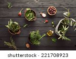 olive oil with herbs.... | Shutterstock . vector #221708923
