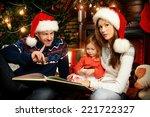 happy family reading fairy... | Shutterstock . vector #221722327