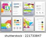 set of flyer  brochure design... | Shutterstock .eps vector #221733847