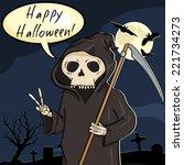 vector halloween postcard.... | Shutterstock .eps vector #221734273