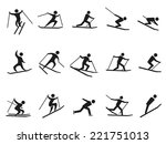 black skiing stick figure icons ... | Shutterstock .eps vector #221751013