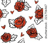 roses and hearts seamless... | Shutterstock .eps vector #221756467