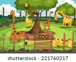 illustration of a zoo and... | Shutterstock .eps vector #221760217