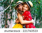 two happy pretty young sisters  ... | Shutterstock . vector #221763523