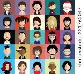 set of people icons in flat... | Shutterstock .eps vector #221765047
