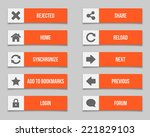 flat orange buttons set. vector ...