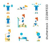 flat style sports workout... | Shutterstock .eps vector #221869333