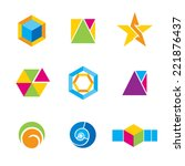 set of geometrical logos.... | Shutterstock . vector #221876437