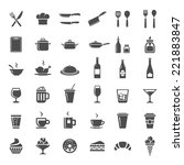 food and drink icon set. 36... | Shutterstock .eps vector #221883847