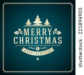 christmas retro typography and... | Shutterstock .eps vector #221896903
