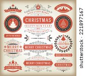 christmas decoration vector... | Shutterstock .eps vector #221897167