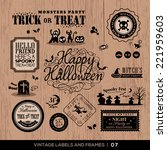 set of halloween labels and... | Shutterstock .eps vector #221959603