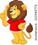 cute cartoon lion giving thumb... | Shutterstock . vector #221960773