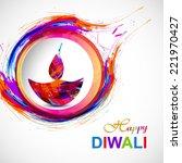 happy diwali diya card artistic ... | Shutterstock .eps vector #221970427