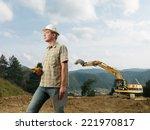 caucasian engineer standing on...   Shutterstock . vector #221970817