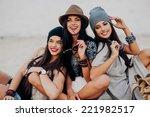 three beautiful girls on the... | Shutterstock . vector #221982517