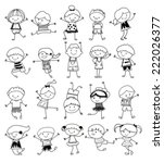 group of kids drawing sketch   Shutterstock .eps vector #222026377