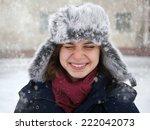 cute funny happy  girl in a fur ... | Shutterstock . vector #222042073