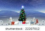 winter christmas tree - stock photo