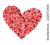 big red heart made from small... | Shutterstock .eps vector #222071503