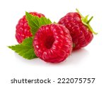 Ripe Red Raspberries Isolated...
