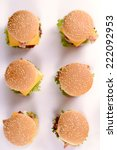 mini beef burgers from above on ... | Shutterstock . vector #222092953