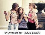 group of school girls having a... | Shutterstock . vector #222118003