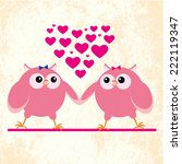 two owls lesbians in love on... | Shutterstock .eps vector #222119347