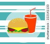 big burger with glass of soda | Shutterstock .eps vector #222141133