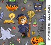 cute halloween seamless pattern.... | Shutterstock .eps vector #222150283