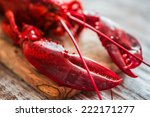 Cooked Lobster On Wooden...