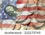 american flag and currency... | Shutterstock . vector #222173743