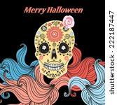 greeting card with funny skull... | Shutterstock .eps vector #222187447