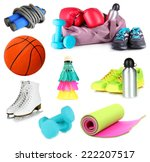 collage of sporting goods... | Shutterstock . vector #222207517