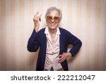elder lady making rock on sign   Shutterstock . vector #222212047