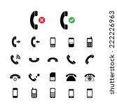 vector basic  phone icon set   | Shutterstock .eps vector #222226963