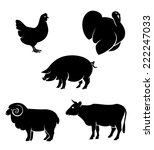 farm animals. vector icons set. | Shutterstock .eps vector #222247033