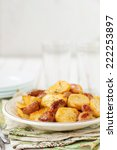 Small photo of Balsamic Roast Potato with Unpeeled Garlic, Eschalot and Rosemary, copy space for your text