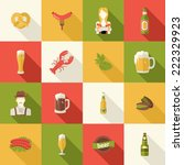a set of flat icons design beer ... | Shutterstock .eps vector #222329923