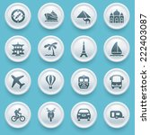 travel icons with white buttons ... | Shutterstock .eps vector #222403087