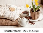 cup of hot drink  knitting... | Shutterstock . vector #222416353